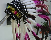 Chief Indian feather Headdress hot pink color 21 inch high Native American Costume Hand Made Feathers War Bonnet Hat