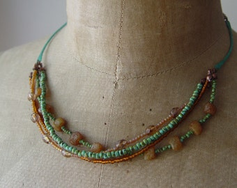 Turquoise and Pebbles Multi-Strand Beaded Necklace