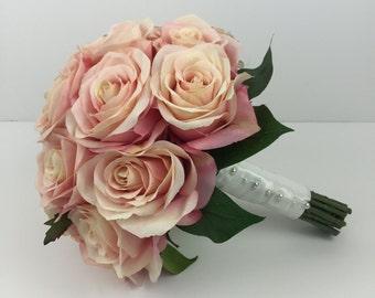 Vintage Pink Rose Wedding Bouquet