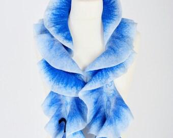 Blue felt scarf - nuno felted scarf collar - felt art to wear - boiled wool scarf - birthday gift - wavy ruffle scarf - wool scarf