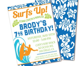 Surf Birthday Party Invitation - Blue, Green & Orange Surf Pool Party - Beach Birthday -  Double Sided Printable Invite