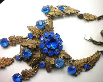 Vintage Art Nouveau Cobalt Blue Glass Flower Necklace Neiger Bros. Gorgeous!