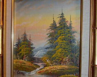Great Vintage Gaston Oil Canvas: Autumn Trees Water Reflections Sunset Landscape