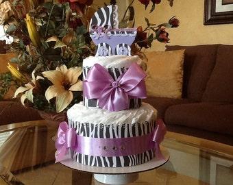Baby girl diaper cake Zebra carriage diaper cake Zebra and lavender baby shower gift/centerpiece