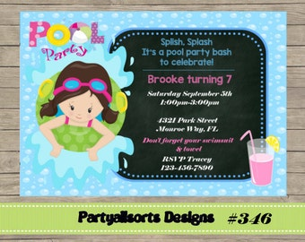 346 DIY - Pool Party Girls Invitations