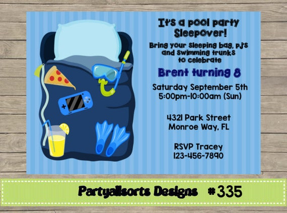 335 DIY Pool Party Sleepover Invitations Cards.