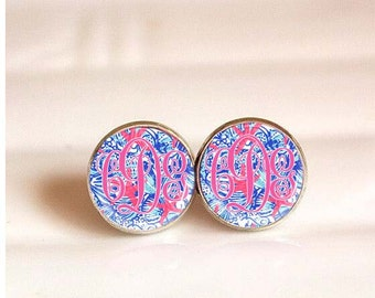 Lilly pulitzer Inspired earrings,she she shells personalized initials stud earrings,silver post earrings,birthday stud earring gift for her