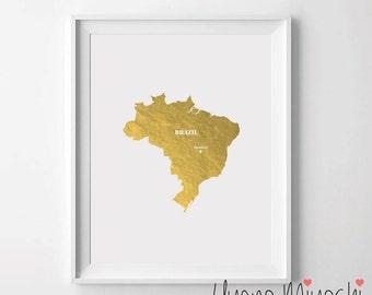 Map Of Brazil Etsy - Brazil map illustration