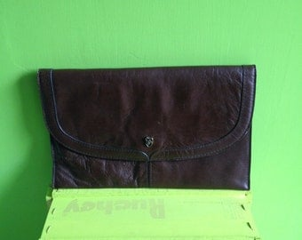 Vintage leather clutch bag 70 years