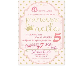 Royal Pink Princess Birthday Invitation - 5x7 - Digital Download