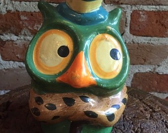Vintage 1970's Whimsical Ceramic Owl Coin Bank, Marked 1975
