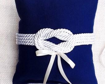 Nautical knot  Ring Bearer Pillow/Navy sailors knot/ Beach wedding pillow -Coast guard wedding-marine wedding -beach ring pillow-hand made