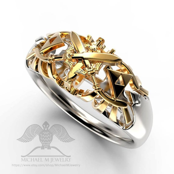 Legend of Zelda triforce WEDDING BAND unisex custommade  handmade    Zelda Wedding Ring