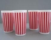 Vintage Candy Stripe Tumblers   HAZEL ATLAS   Red White   Milk Glass   1940s   Set of 3