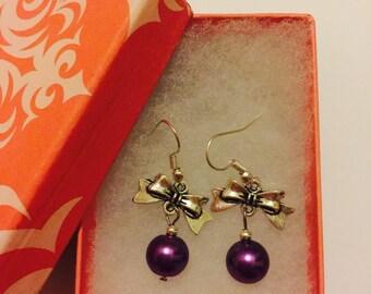 Purple Pearl Bead With Bow Dangle Earrings