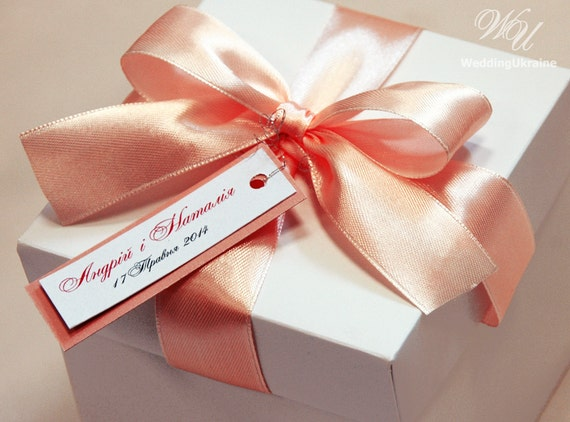Personalised Wedding Gift Ribbon : 25 Wedding favor gift boxes with satin ribbon bow and personalized tag ...