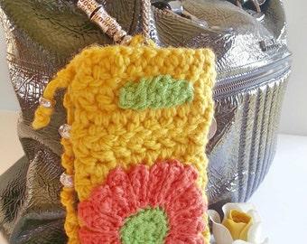 Mobile holder,Glasses holder, Keys holder, keychain, Mobile holder,jellow, crochet, hand made,Galaxy