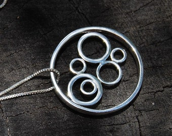 Sterling silver circles pendant