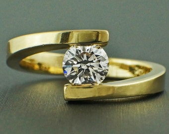 0.58ct Round Diamond 14K Yellow Gold Solitaire Tension Engagement Ring - CUSTOM MADE