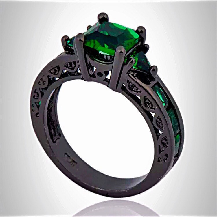 black gold emerald princess cut engagement ring by