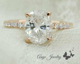 1.70 Ct. Oval Cut Diamond Engagement Ring on 14K Rose Gold