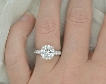 2.10 Ct. Round Cut Diamond Engagement Ring on 14K White Gold