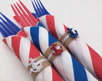 Nautical Party Flatware: Red or Blue Nautical Silverware, Ocean Party Party Supplies, Nautical Dessert Table