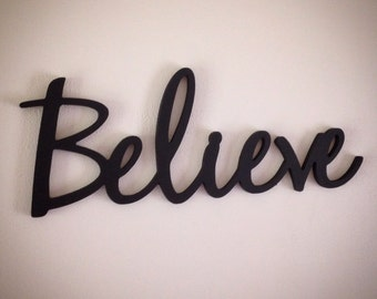BELIEVE word art cutout