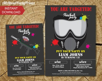 PDF format- Instant Donwlaod- Paint ink Birthday Invitation- Invitation Printable-PDF format-for personal use only
