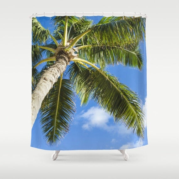 Shower Curtain with Palm trees, palm bathroom Blue, sky, beach shower ...