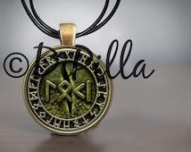 Snake Eye Loki Written in Rune with rune circle Pendant in Bronze
