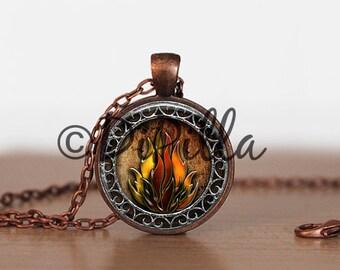 Eternal Flames Fire Pendant set in Copper Bezel with Chain