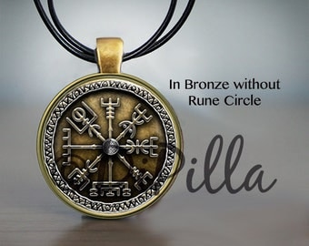 Vegvisir Viking Compass Pendant  in Blue Bronze or Black with Leather Cord