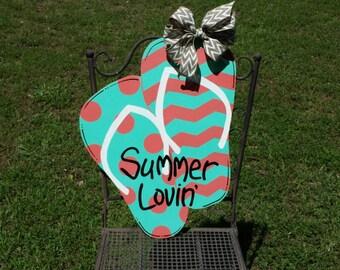 Summer Lovin' flip flop door hanger, Flip flops door hanger