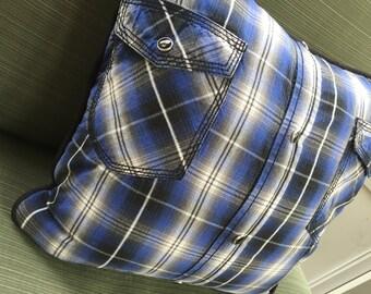 Plaid Snap Shirt Pillow Cover