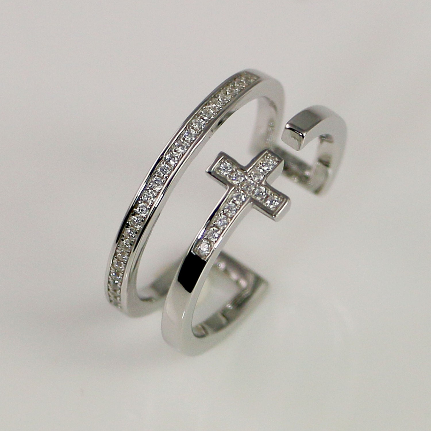 cz sterling silver sideways cross ring silver by