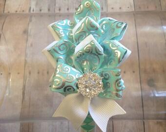 Teal and White Dahlia Flower Ribbon  Petals Woven Headband, Fancy Headband