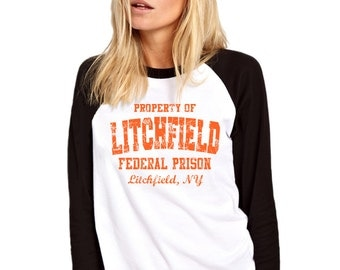 Litchfield Federal Prison Orange Black Baseball Top - Long Sleeved Womens Girls Black and White Base Ball Fashion Tee