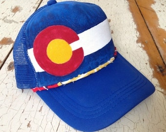 Blue Hand Painted Colorado Trucker Hat