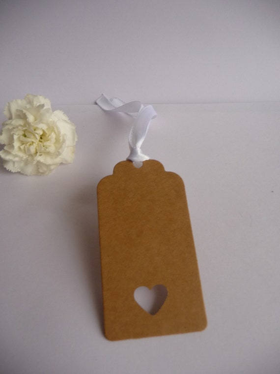 ... Heart Gift Tags Wedding Favour Place Name Birthday Luggage Tag brown