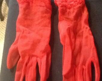 Red nylon gloves