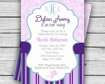 MONOGRAM Purple Floral BABY Shower Invite, Girl Baby Shower, Boy Baby Shower, Party, TCU Printable file or Printed