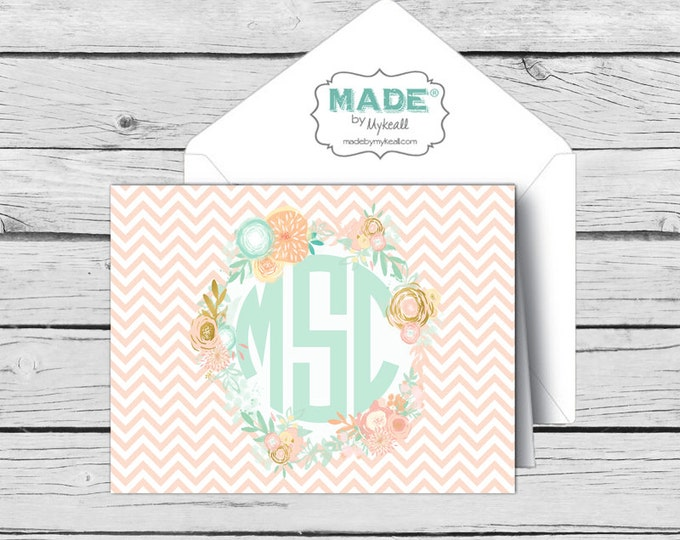 Circle MONOGRAM Mint & Peach Floral NOTE CARD Set 3, Made-to-Match Cards, Birthday, Printed Thank You Cards