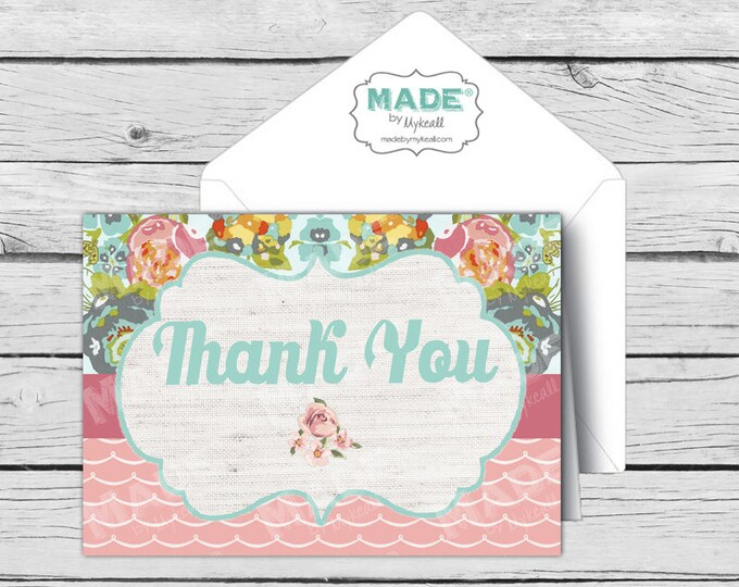 Pink Vintage Floral THANK YOU Card Sets, Made-to-Match Thank You Cards, Girl Baby Shower, Boy Baby Shower, Birthday, Printed Thank You Cards