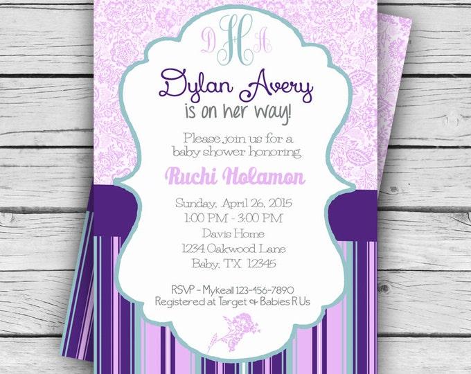 MONOGRAM Purple Floral BABY Shower Invite, Girl Baby Shower, Boy Baby Shower, Party, TCU Printable file or Printed