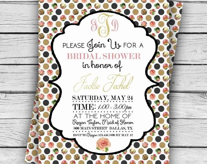 MONOGRAM Polka Dot WEDDING SHOWER Invitation, Wedding Shower, Personalized Shower Invite, Tie the Knot, Digital file, Printable file