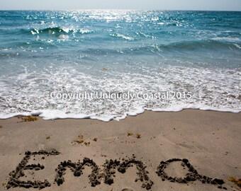 Ocean water beach photography sunrise boca raton florida print name in sand baby girl gift personalized artwork beach nursery decor negle Gallery