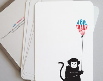 Elephant or Monkey Animal Thank You Postcards, pack of five postcards and envelopes