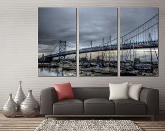 Ben Franklin Bridge in Philadelphia, Pennsylvania Canvas Print -3 Panel Split, Triptych. Cloudy day wall art for wall decor, interior design