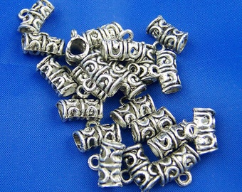 100Pcs Antique Silver Bails Tube Beads Findings 12x9mm